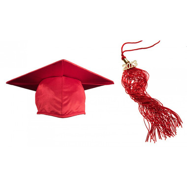 Shown is child shiny red cap & tassel package (Cool School Studios 0427).