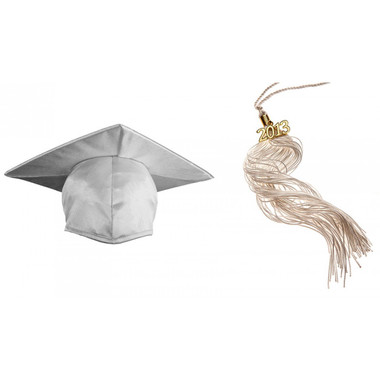 Shown is child shiny white cap & tassel package (Cool School Studios 0428).