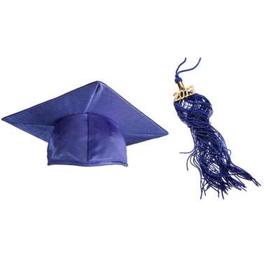 Shown is the child's shiny royal blue cap & tassel package (Cool School Studios 0429).