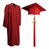 Shown is matte red cap, gown & tassel package (Cool School Studios 0306).