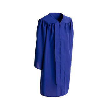 Shown is child matte royal blue gown (Cool School Studios 0400), full front view.