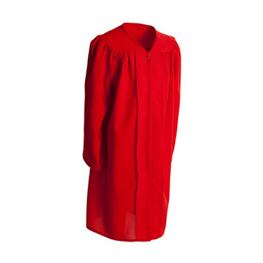 Shown is child matte red gown (Cool School Studios 0402), full front view.