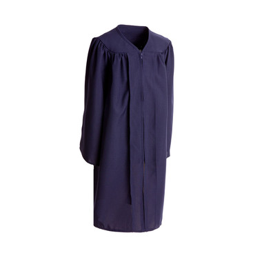 Shown is child matte navy blue gown (Cool School Studios 0403), full front view.
