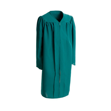 Shown is child matte emerald green gown (Cool School Studios 0405), full front view.