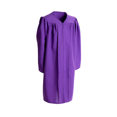 Shown is child matte purple gown (Cool School Studios 0407), full front view.