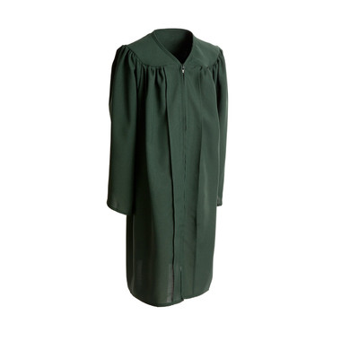 Shown is child matte forest green gown (Cool School Studios 0408), full front view.