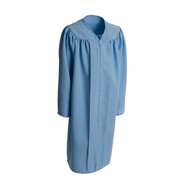 Shown is child matte sky blue gown (Cool School Studios 0409), full front view.