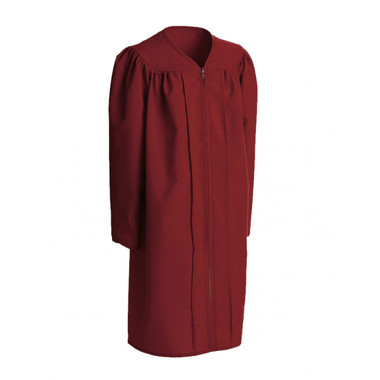 Shown is child matte maroon gown (Cool School Studios 0411), full front view.