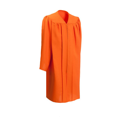 Shown is child matte orange gown (Cool School Studios 0412), full front view.
