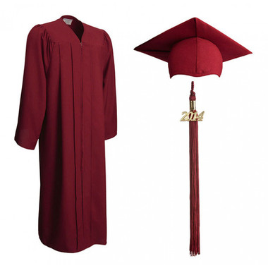 Shown is matte maroon cap, gown & tassel package (Cool School Studios 0304).