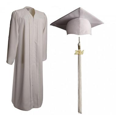 Shown is matte white cap, gown & tassel package (Cool School Studios 0305).