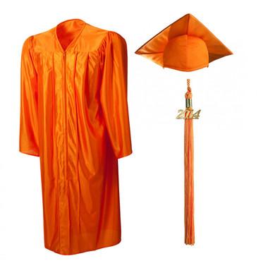 Shown is shiny orange cap, gown & tassel package (Cool School Studios 0145).