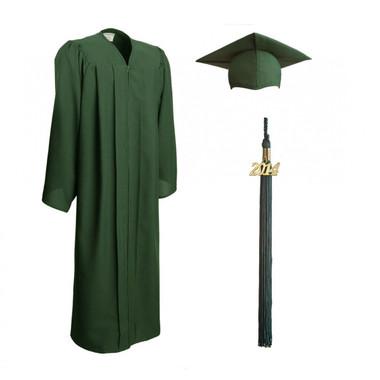 Shown is matte forest green cap, gown & tassel package (Cool School Studios 0303).