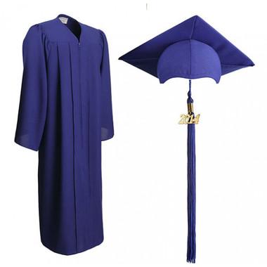 Shown is matte royal blue cap, gown & tassel package (Cool School Studios 0301).