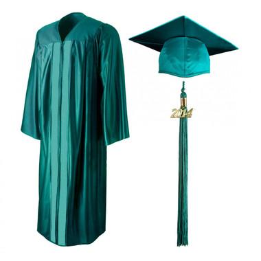 Shown is shiny emerald green cap, gown & tassel package (Cool School Studios 0143).