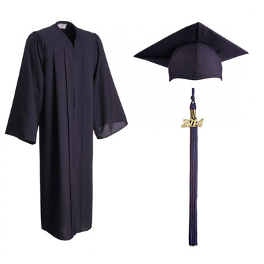 Shown is matte navy blue cap, gown & tassel package (Cool School Studios 0302).