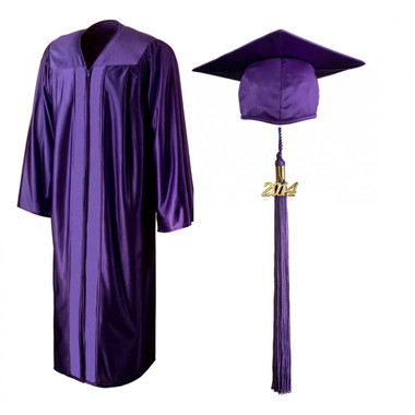 Shown is shiny purple cap, gown & tassel package (Cool School Studios 0141).