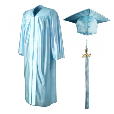 Shown is shiny sky blue cap, gown & tassel package (Cool School Studios 0142).