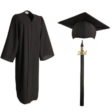 Shown is matte black cap, gown & tassel package (Cool School Studios 0300).