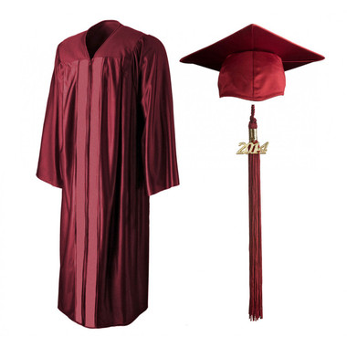 Shown is shiny maroon cap, gown & tassel package (Cool School Studios 0139).