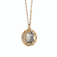 """Monica Rich Kosann """"CARPE DIEM"""" PAVE CHARM NECKLACE, LARGE in 18K Gold and one Axis in Pave Diamonds on a 32"""" chain."""