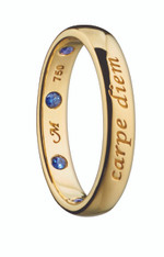 Monica Rich Kosann CARPE DIEM POESY RING NECKLACE in Yellow Gold with Blue Sapphire