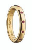 """Monica Rich Kosann """"I JUST ADORE YOU"""" POESY RING NECKLACE with Burnished Rubies in Yellow Gold"""