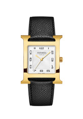 Hermes black leather band watch with yellow gold H shaped case.