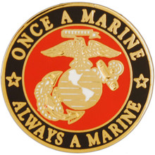 "Pin - USMC Logo, Once a Marine Always a Marine (1"")"
