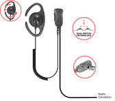 Pryme DEFENDER-C Adjustable Earpiece for ICOM F50 F60 F3061 F4061 Radios