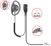 Pryme DEFENDER-D Ring Loop Earpiece for Kenwood 2-Pin TK and ProTalk Radios