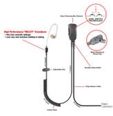Pryme SONIC Straight Tube Lapel Mic for Motorola HT1000 JT1000 MTX8000 MTX9000