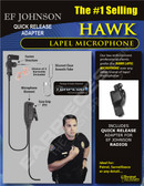 Hawk Lapel Microphone with Quick Release for EF JOHNSON Viking 51SL 5100 7700 Radios
