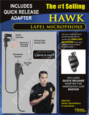 Hawk Lapel Microphone with Quick Release for Harris Unity XG25 XG75 P5300 P7300 Radios