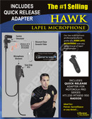 Hawk Lapel Microphone with Quick Release for Motorola HT1250 MTX8250 MTX9250