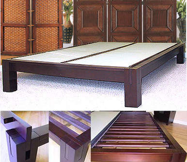 Tall Tatami Platform Bed Dark Walnut Tatamiroom Com