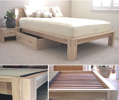 Tall Tatami Platform Bed Natural Finish Tatamiroom Com