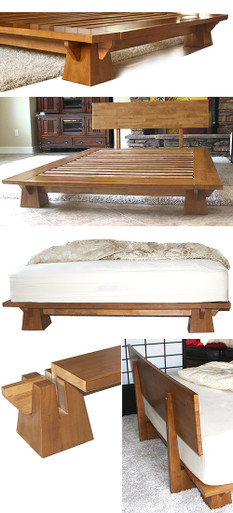 Wakayama Platform Bed Frame Honey Oak Tatamiroom Com
