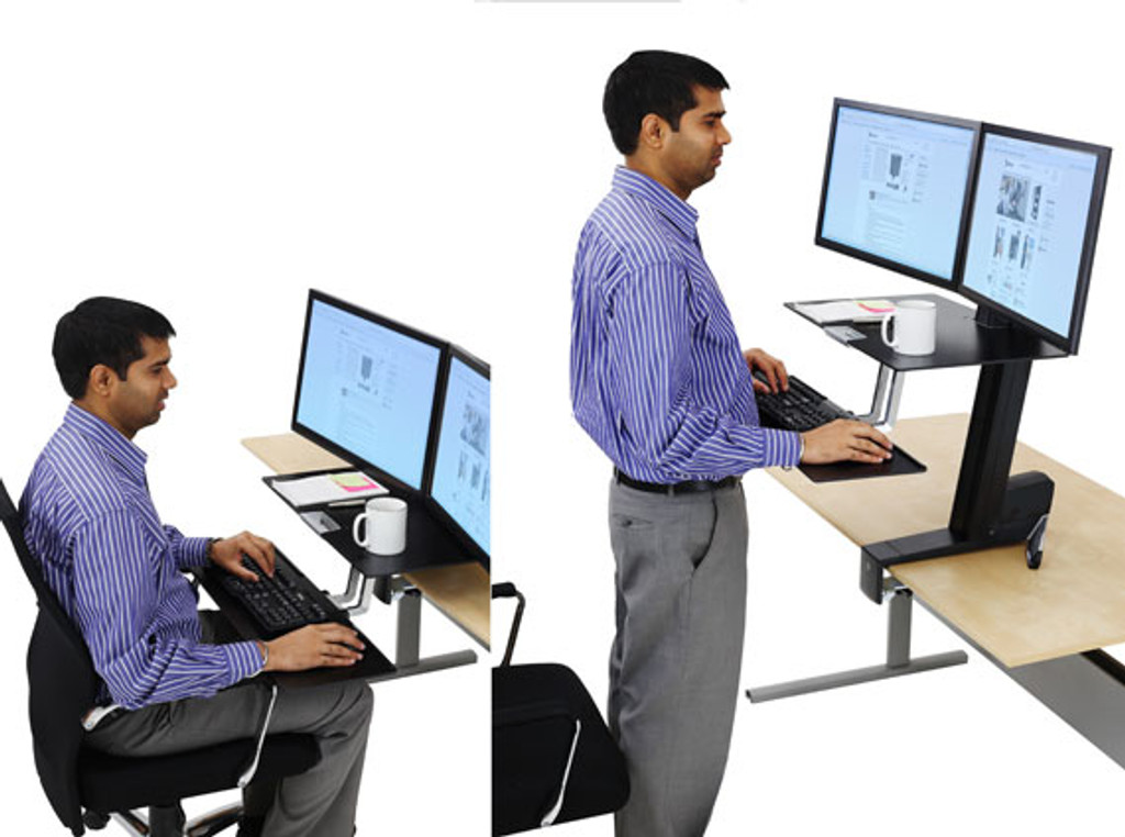 WorkFit-S, Dual Monitor with Worksurface+ In Use