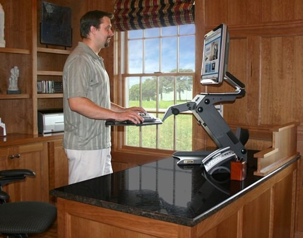 Standing Desks Executive Stand Up Desk: HealthPostures Executive TaskMate 6100 Height Adjustable