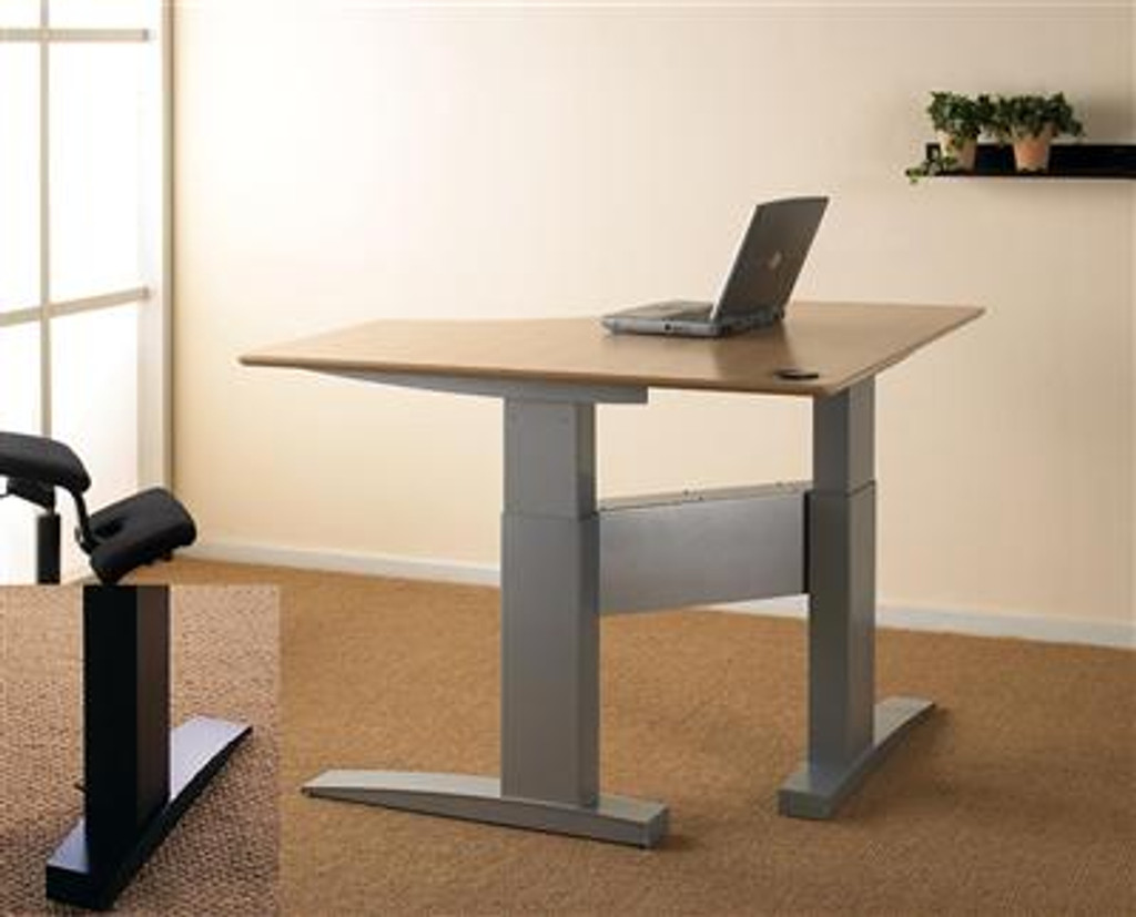 Electric Height Adjustable Corner Desk Silver/Black Leg