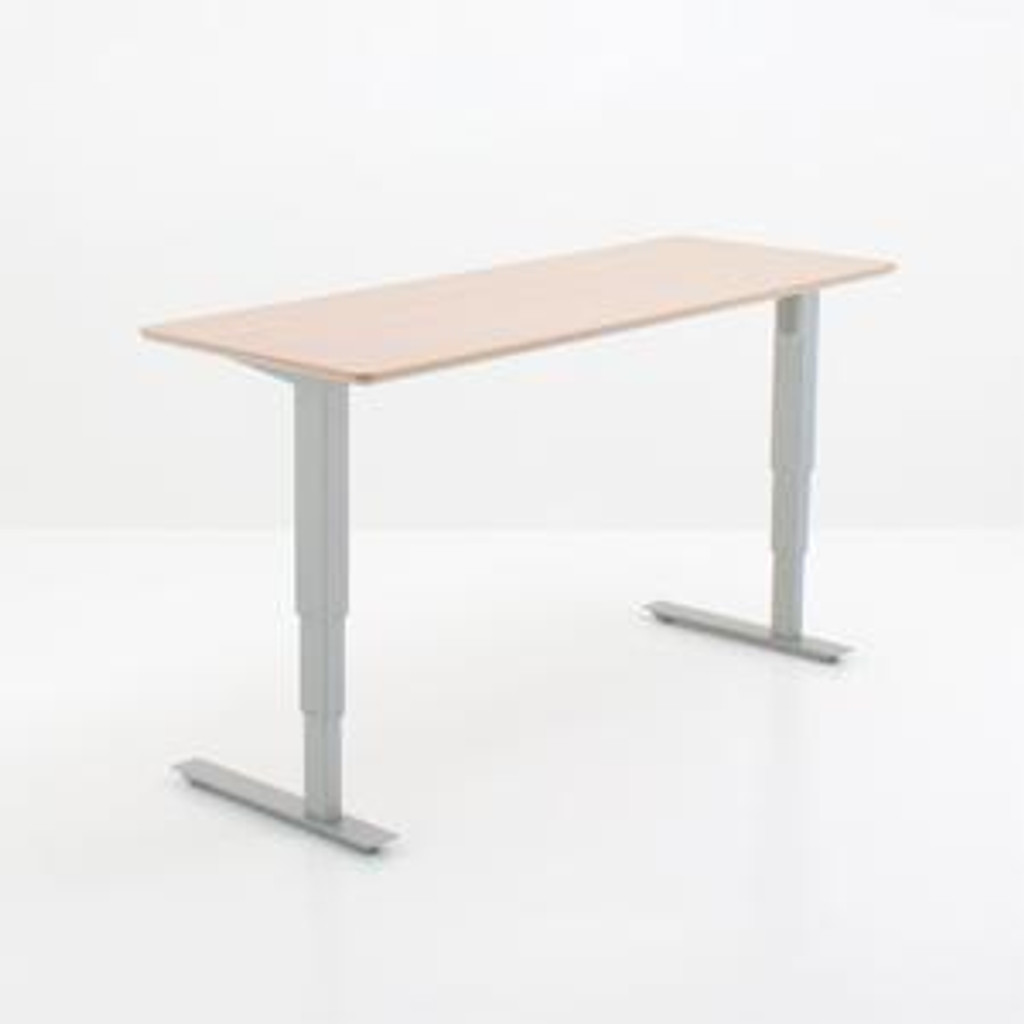 501-37 Electric Height Adjustable 2-Leg Desk Silver