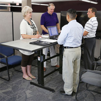 WorkFit-B, Sit-Stand Base, HD (24-388-009) In use