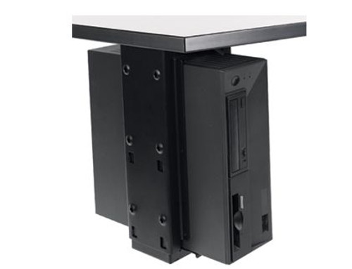 Populas Furniture Under Desk CPU Holder with Slide and Swivel