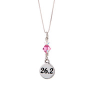 26.2 marathon round charm with a pink crustal on a sterling silver box chain.