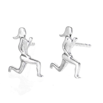 Pair of runner girl earring studs.