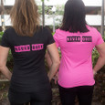 """""""NEVER QUIT"""" is displayed boldly on the back of our Pain is Temporary, Pride is forever Tech T-shirts. These shirts are perfect for runners, Triathletes, Gym rats and anyone that sweats and wants but still wants to look pretty ."""