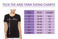 Sizing Chart for the Pain and Pride Tech Tee.