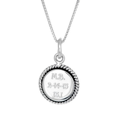 Round Finisher charm on a sterling silver box chain.