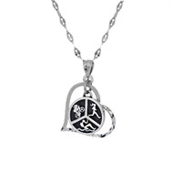 Sterling silver Triathlon heart necklace on a star chain.